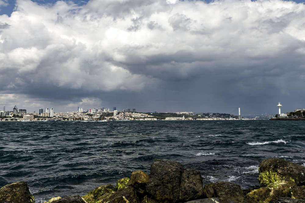 city and sea under white clouds