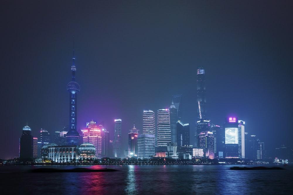 lighted city skyline during night