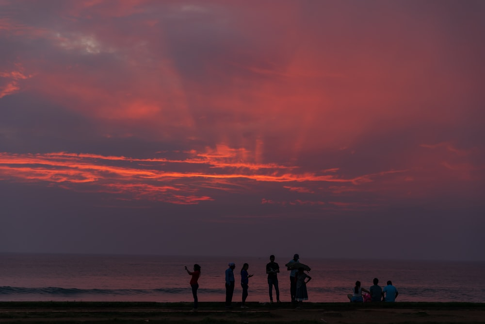 silhouette of people standing and sitting near beach during sunset