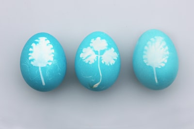 three teal-and-white painted eggs easter zoom background