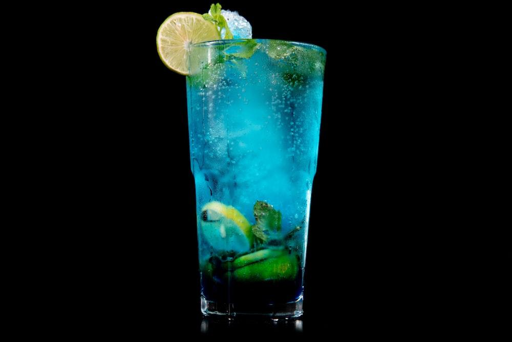 blue margarita filled glass