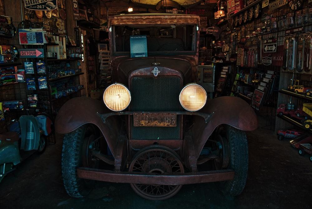 brown vintage car