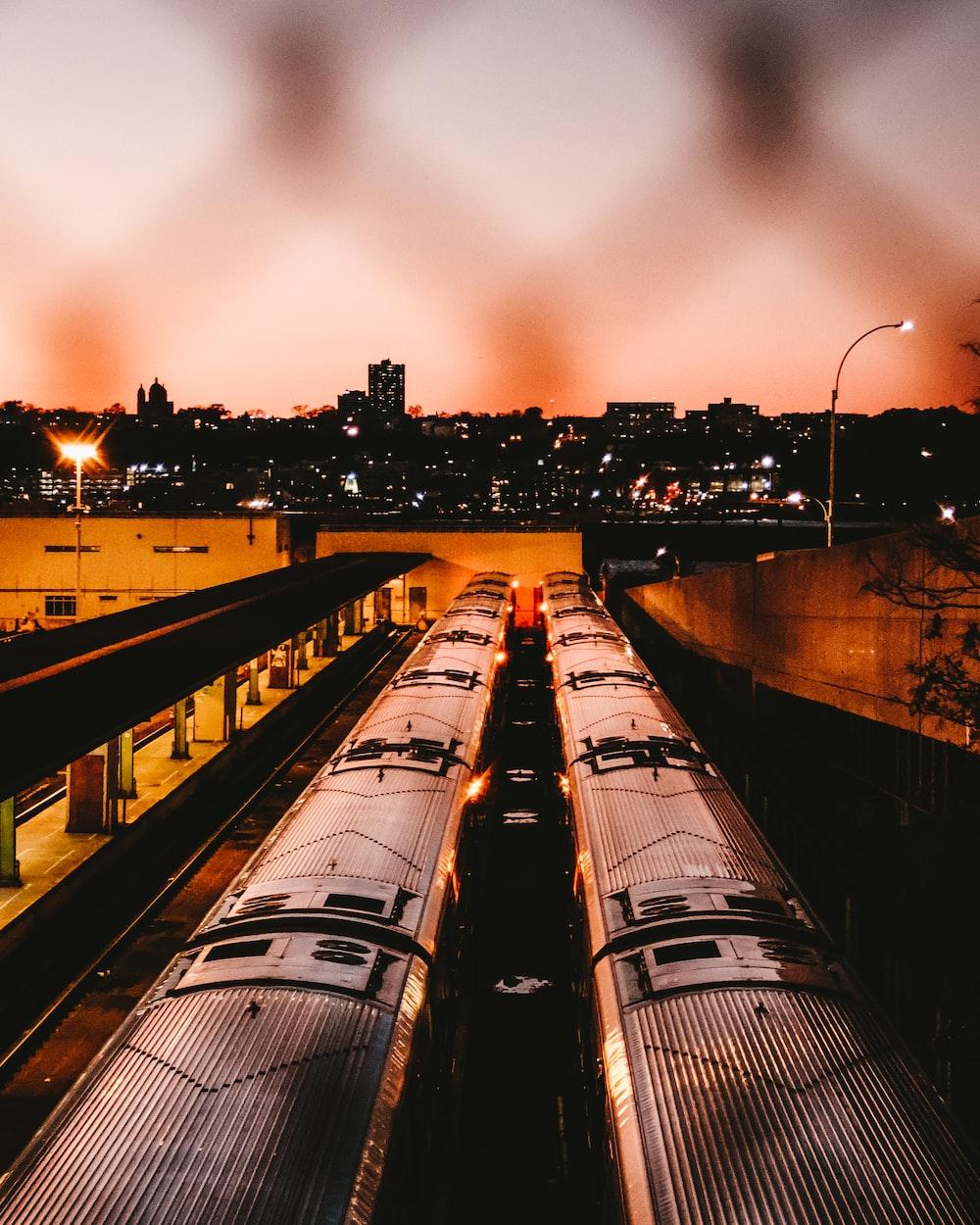 aerial photo of gray train