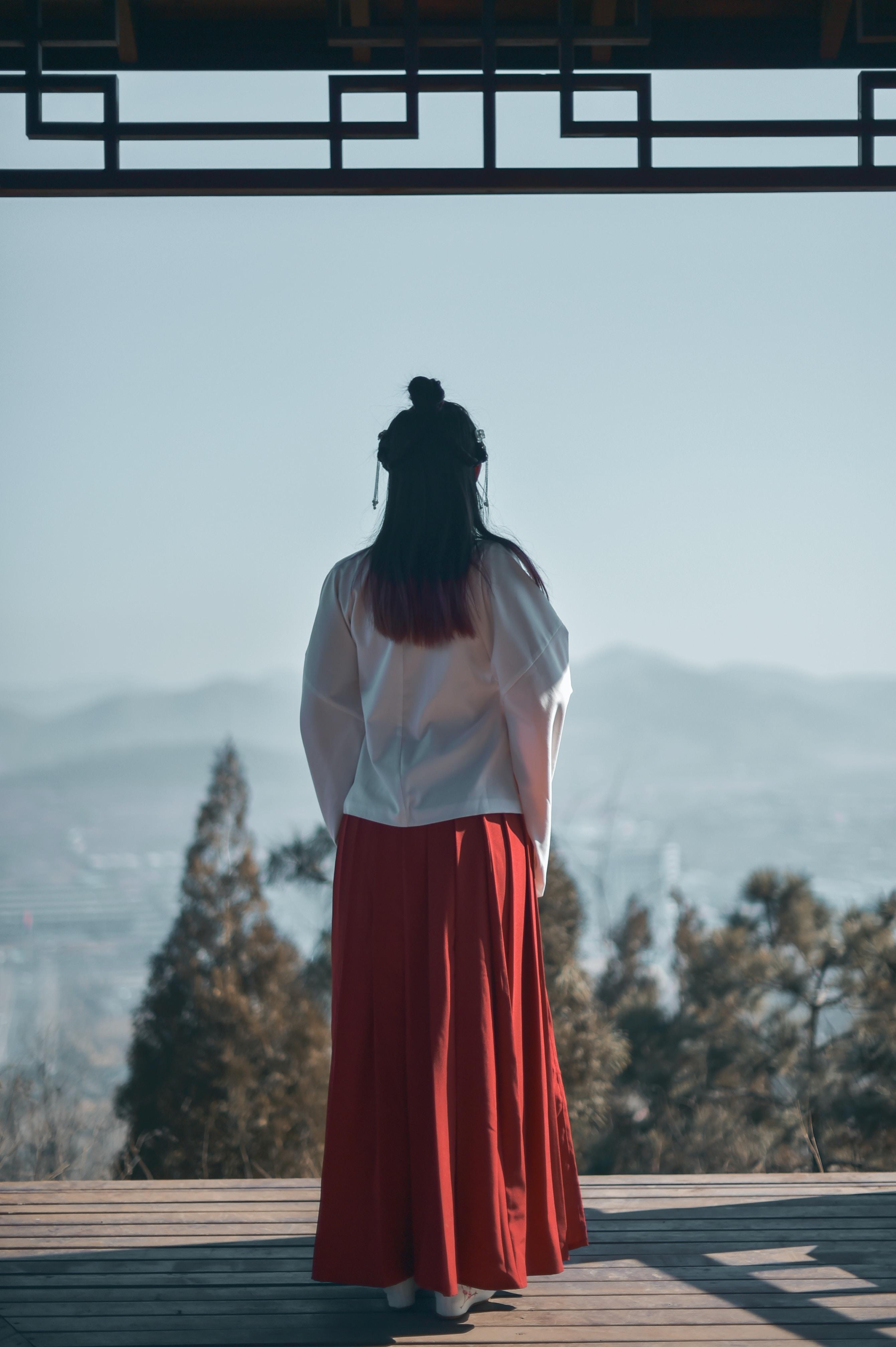 woman searing white and red kimono