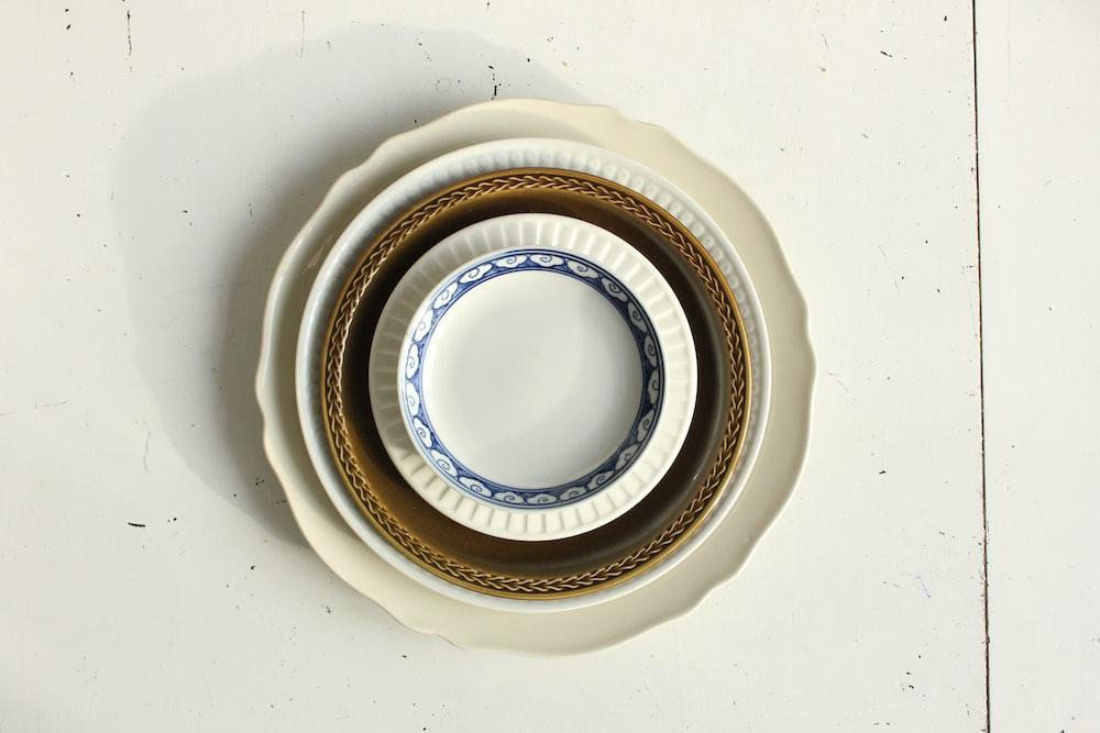 flat lay photography of dinnerware set