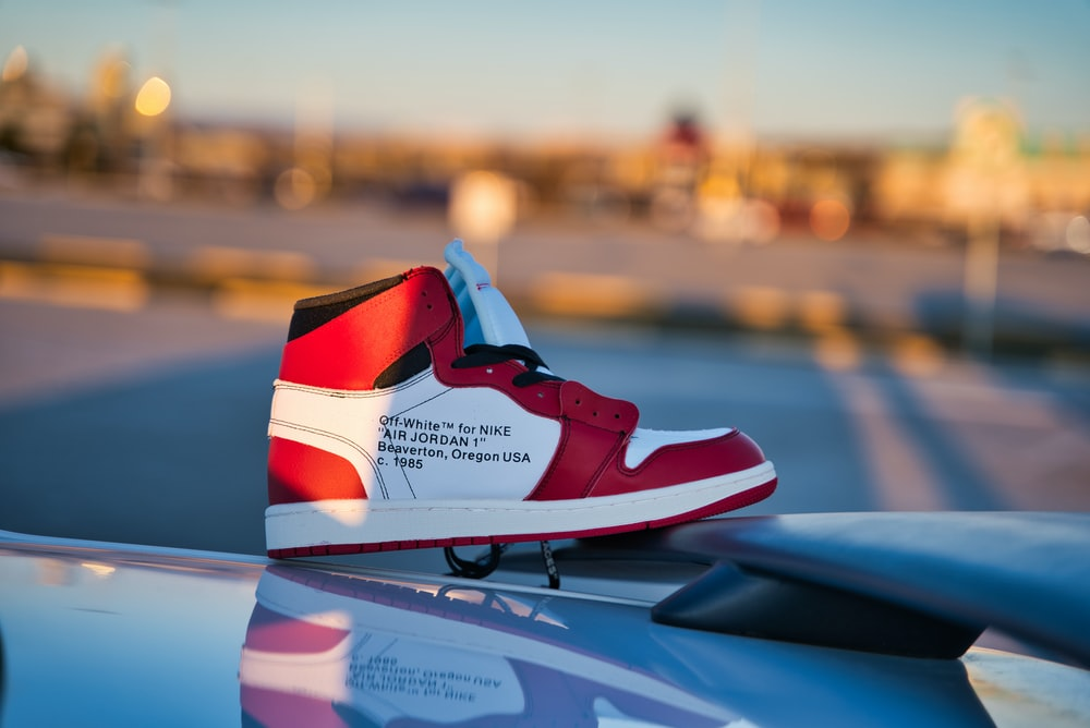 white, black, and red Air Jordan 1 shoe