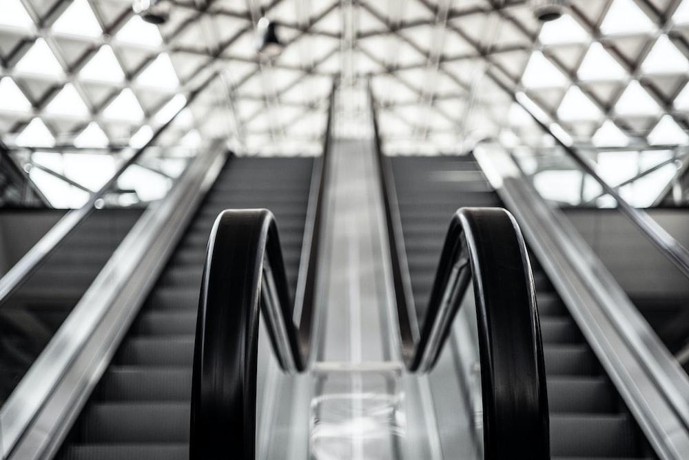 low angle photo of escalator