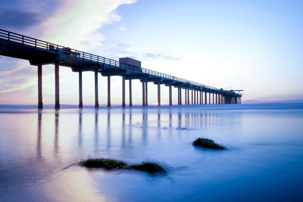 low-angle photography of dock bridge