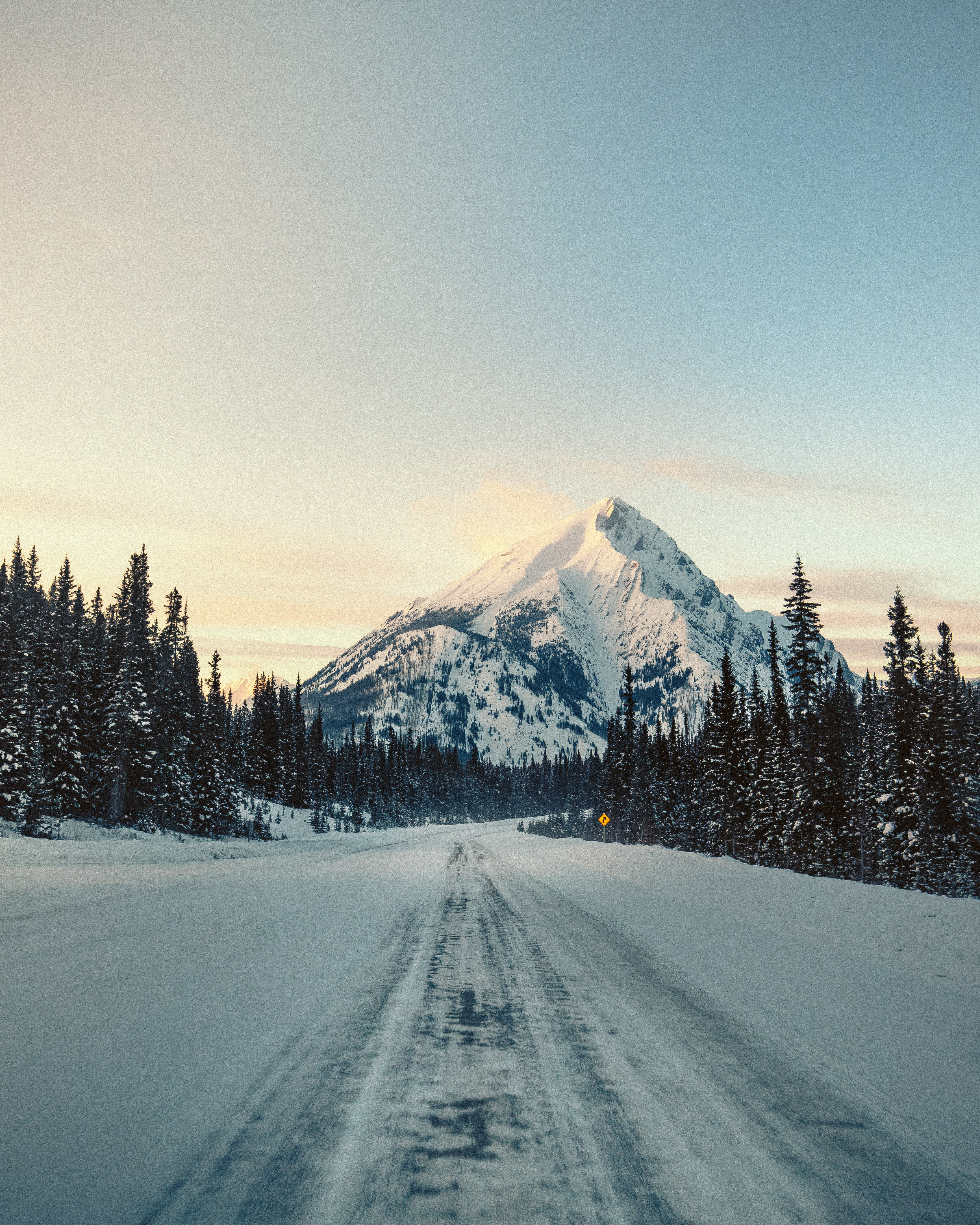 snowfield road and glacier mountain under blue sky