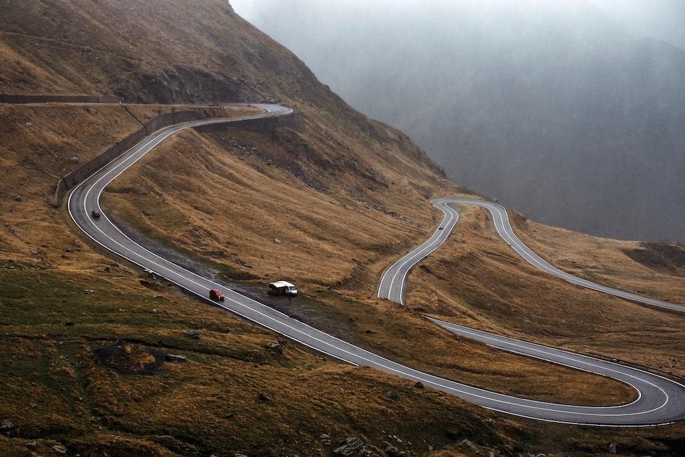 aerial asphalt road