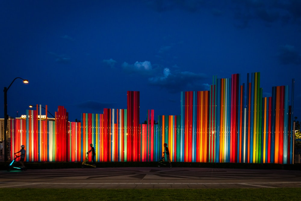 multicolored lighted park wall at night