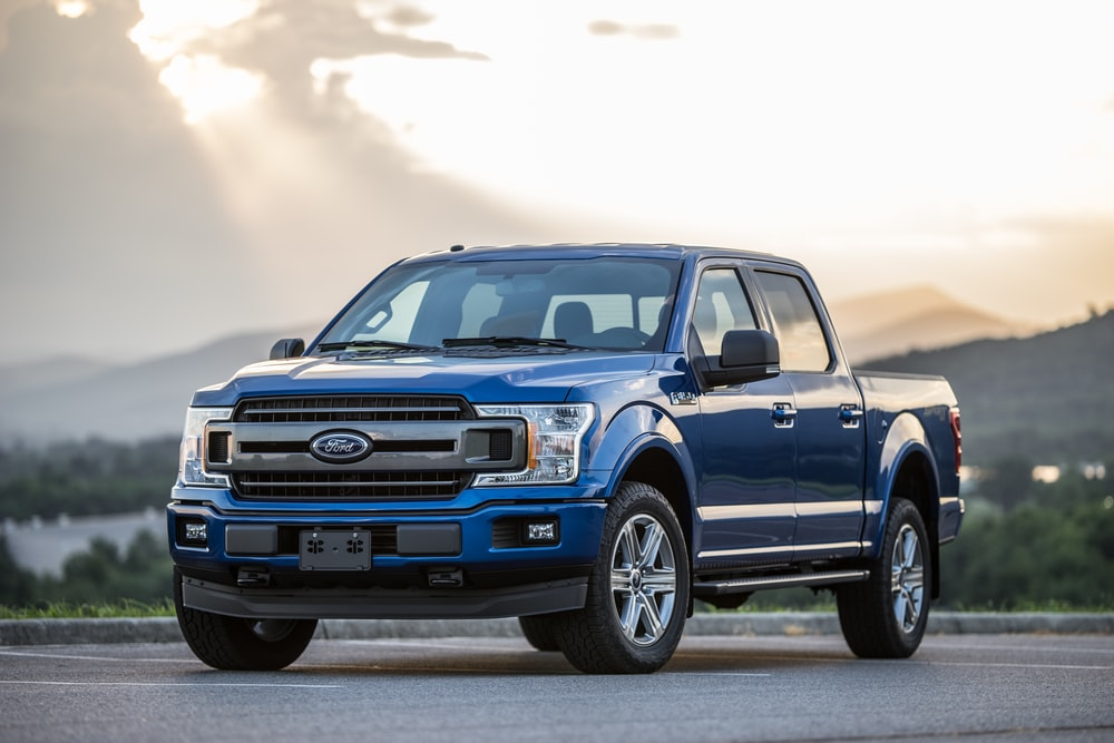 blue Ford pickup truck