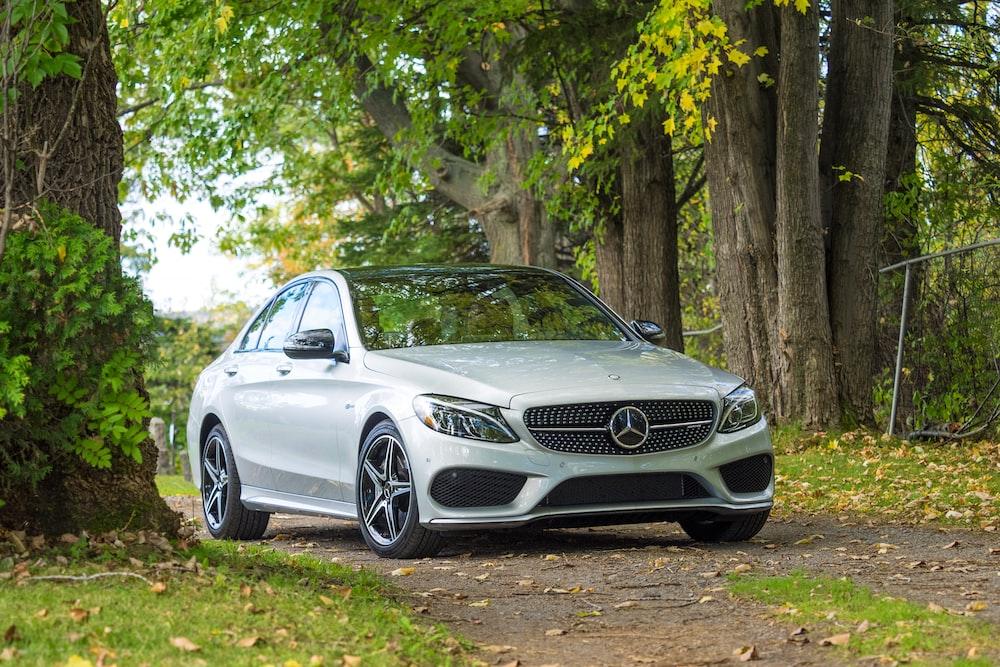 silver Mercedes-Benz car