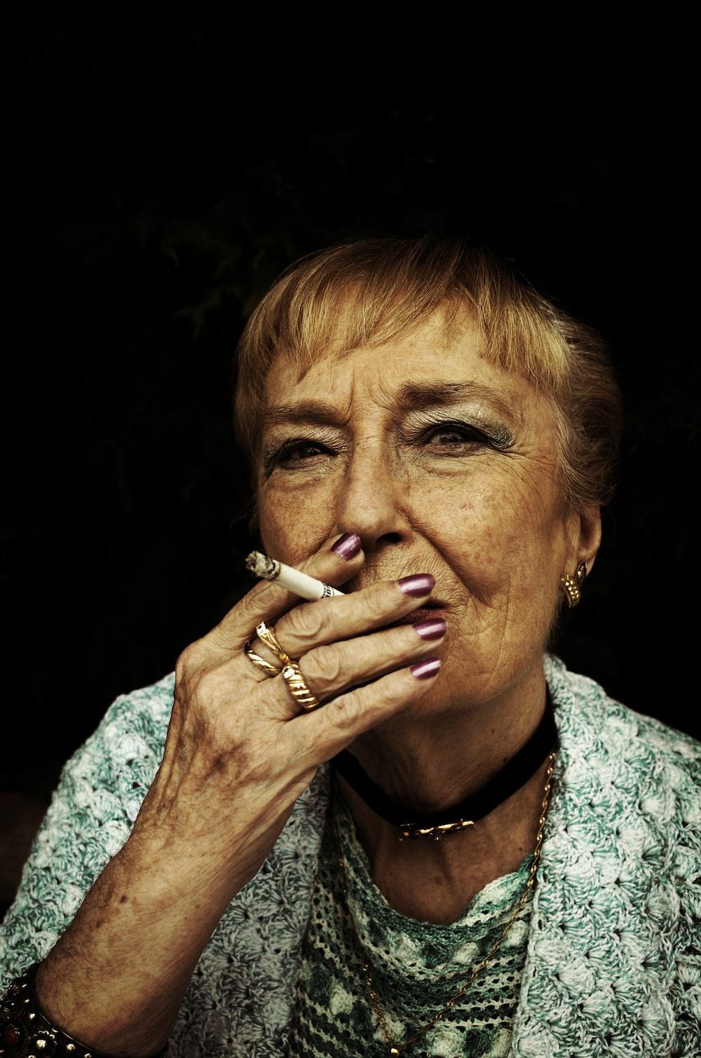 woman using cigarette