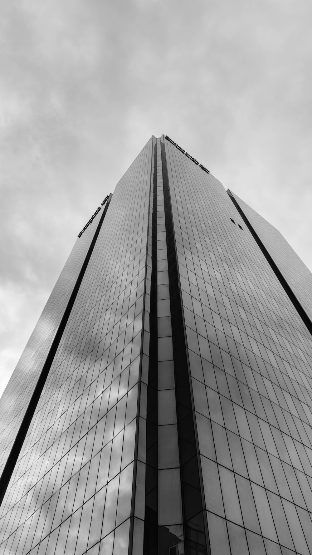 low angle of glass tall building