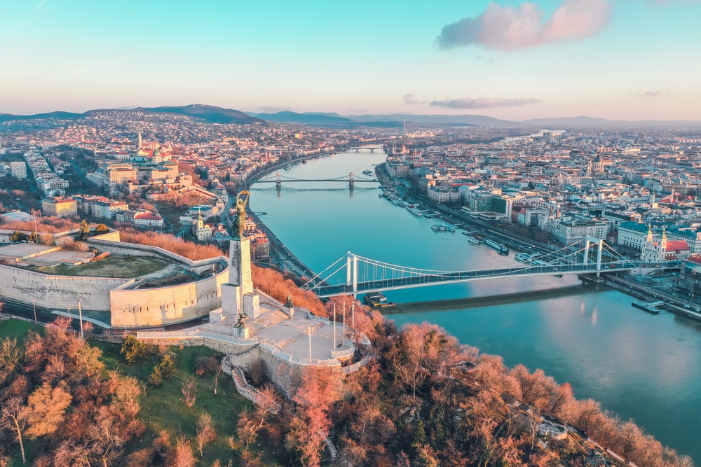 aerial photography of buildings viewing bridge and sea during daytime