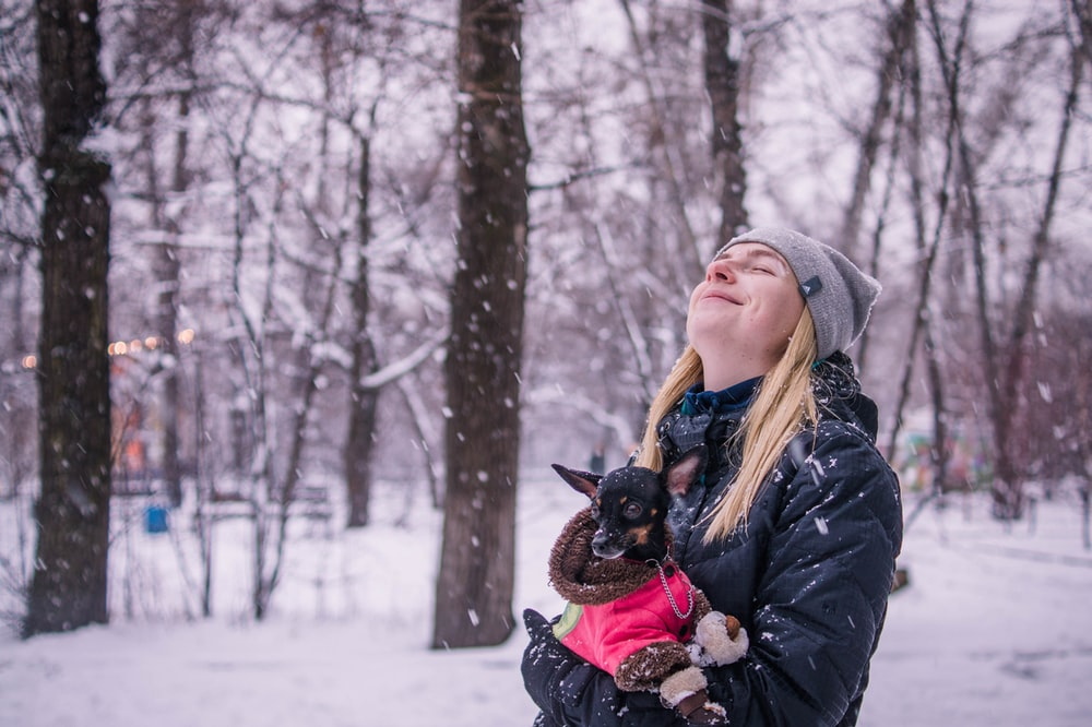 woman holding dog while looking up