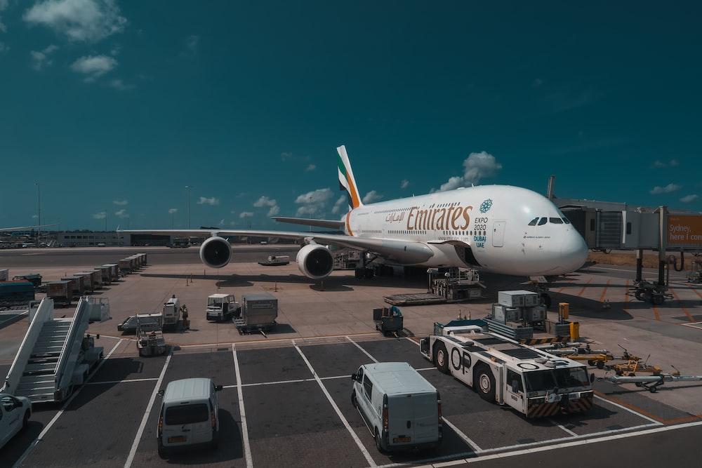 white Emirates plane