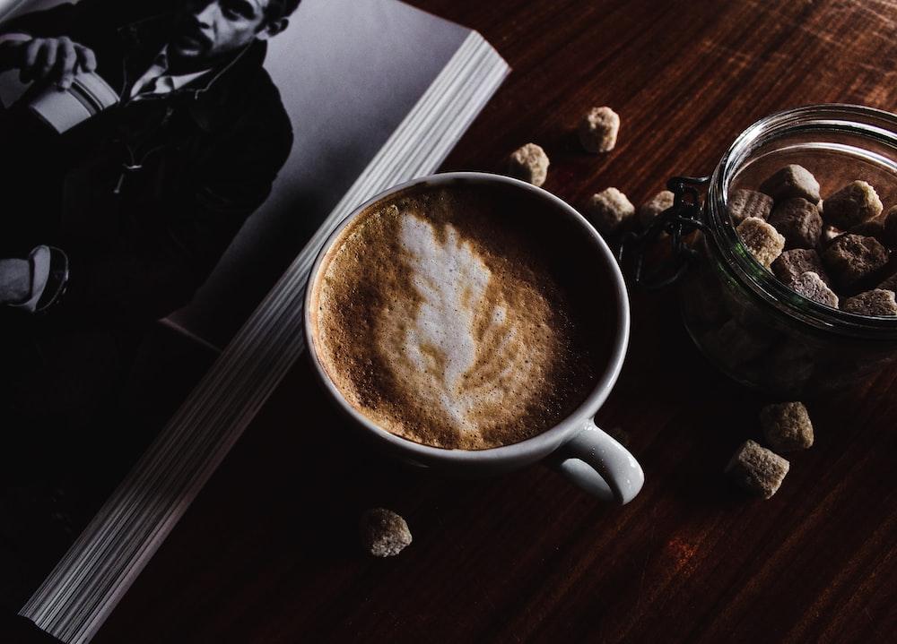 latte field teacup by open book