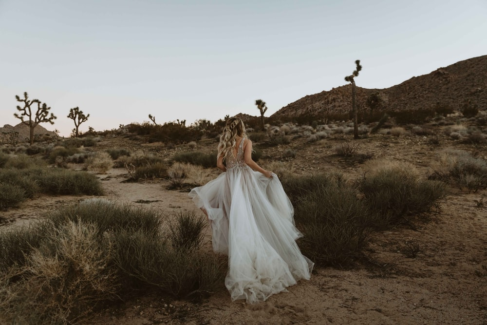 bride running at the desert