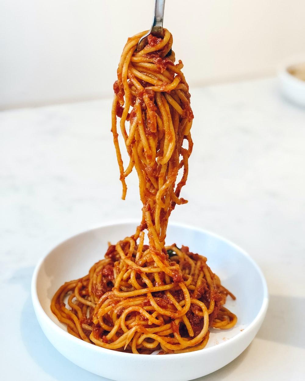pasta in white ceramic bowl