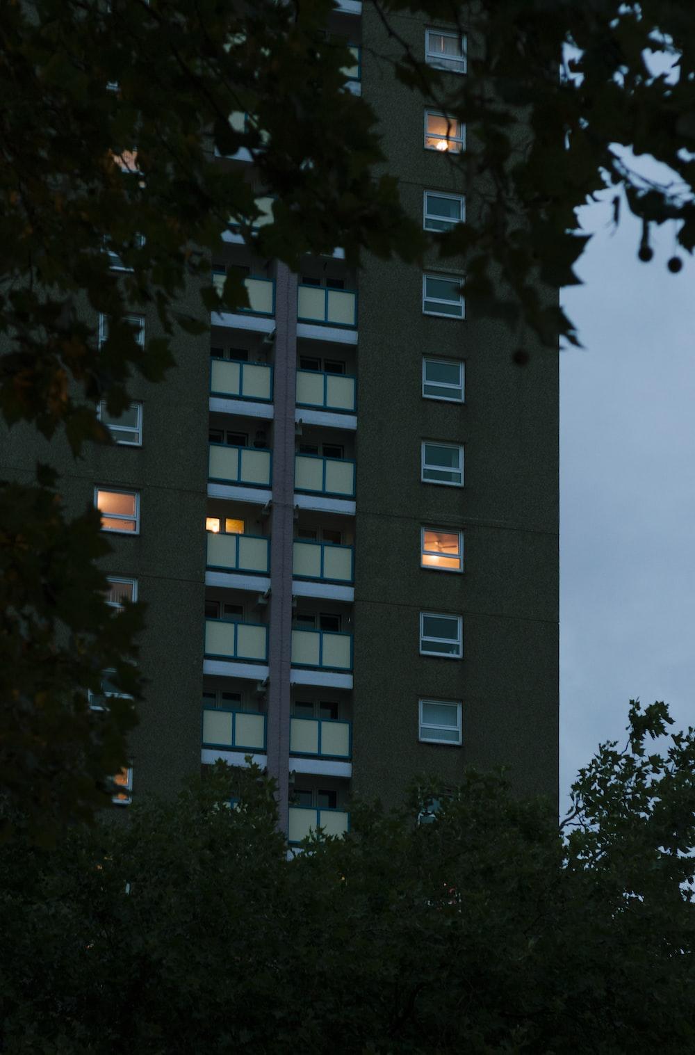 black lighted building