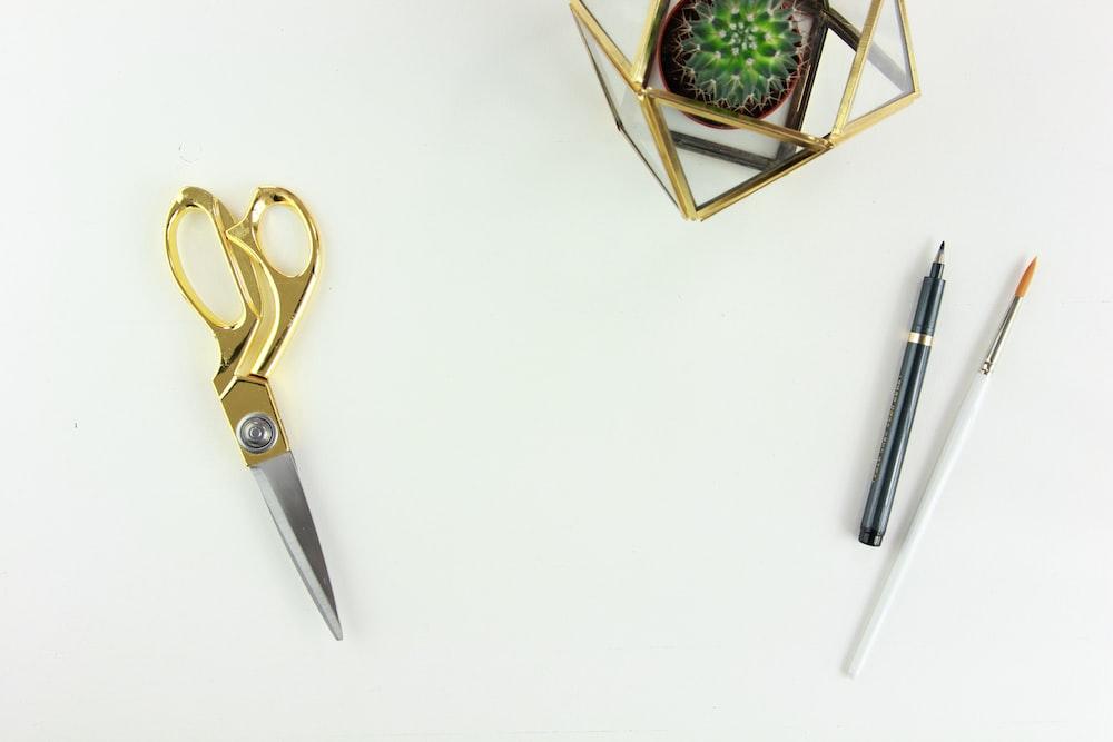 scissors near pen