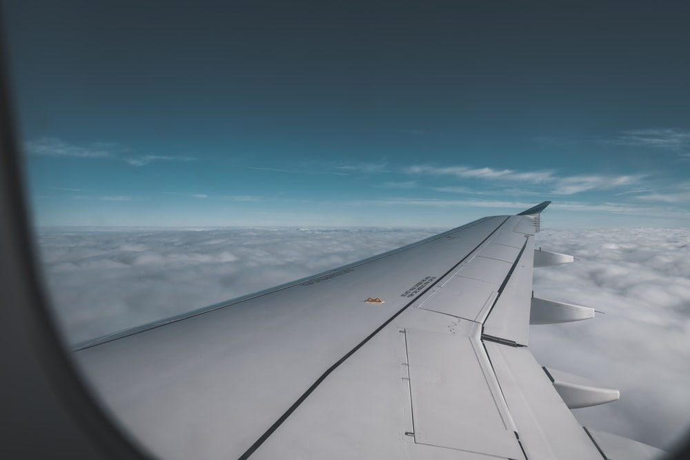 airplane wing window view