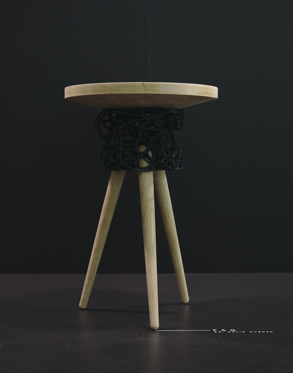 round brown wooden stool