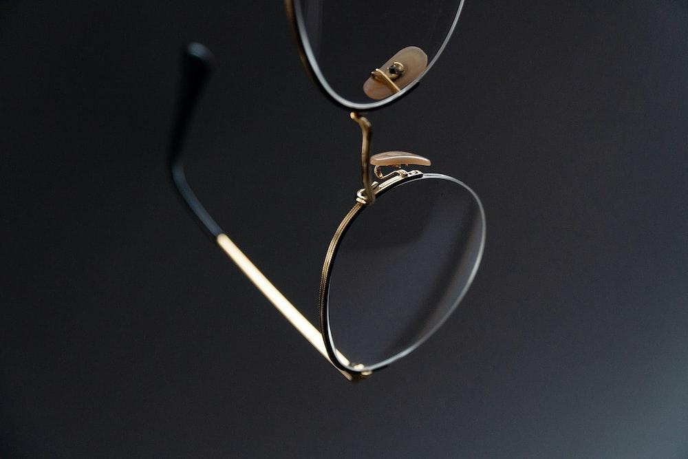 gray framed eyeglasses