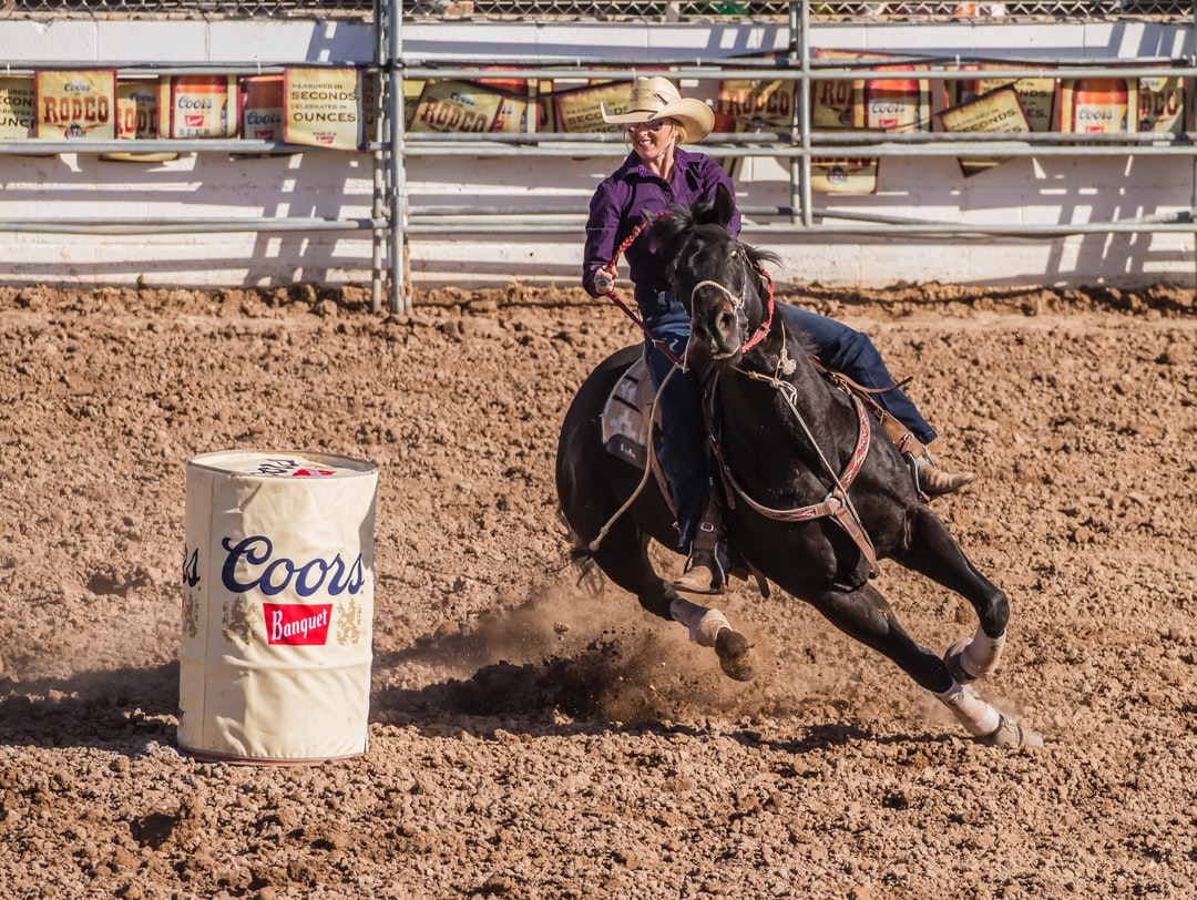 Women compete in the barrel racing event at rodeos, a skill requiring great skill, control, power, and a strong body.  International Women's Day