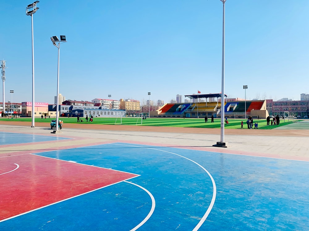 outdoor basketball court and tennis court