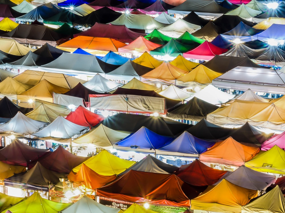 assorted-color of tent