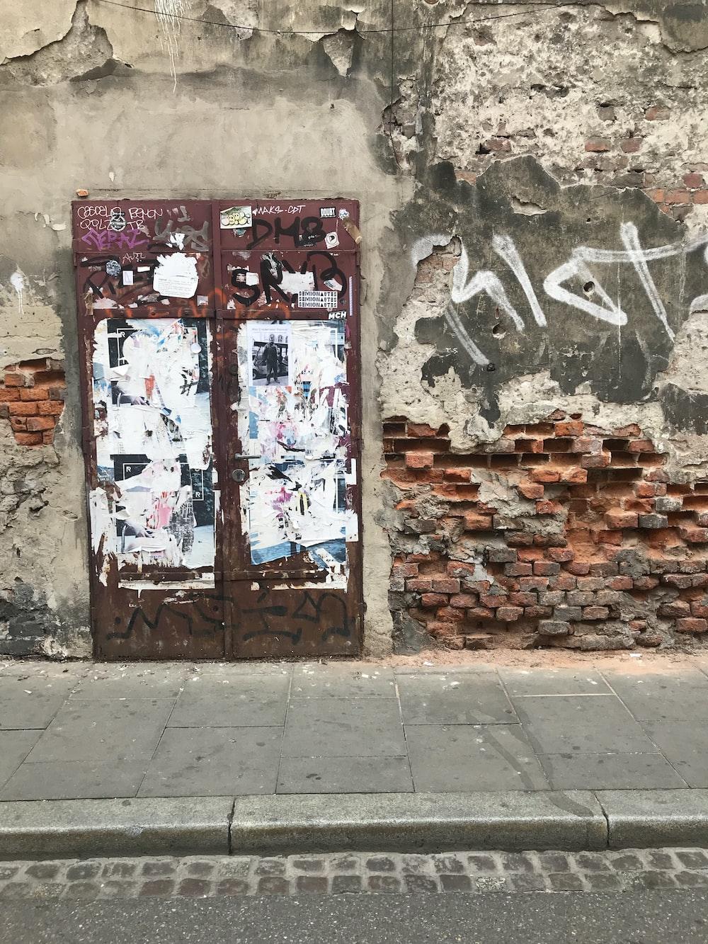 closed red metal door