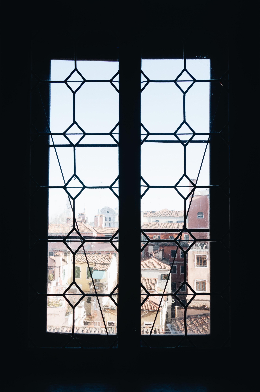 window with black metal frame