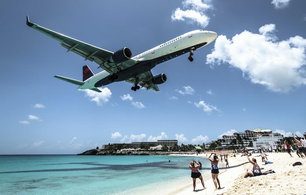 plane landing near seashore during daytime