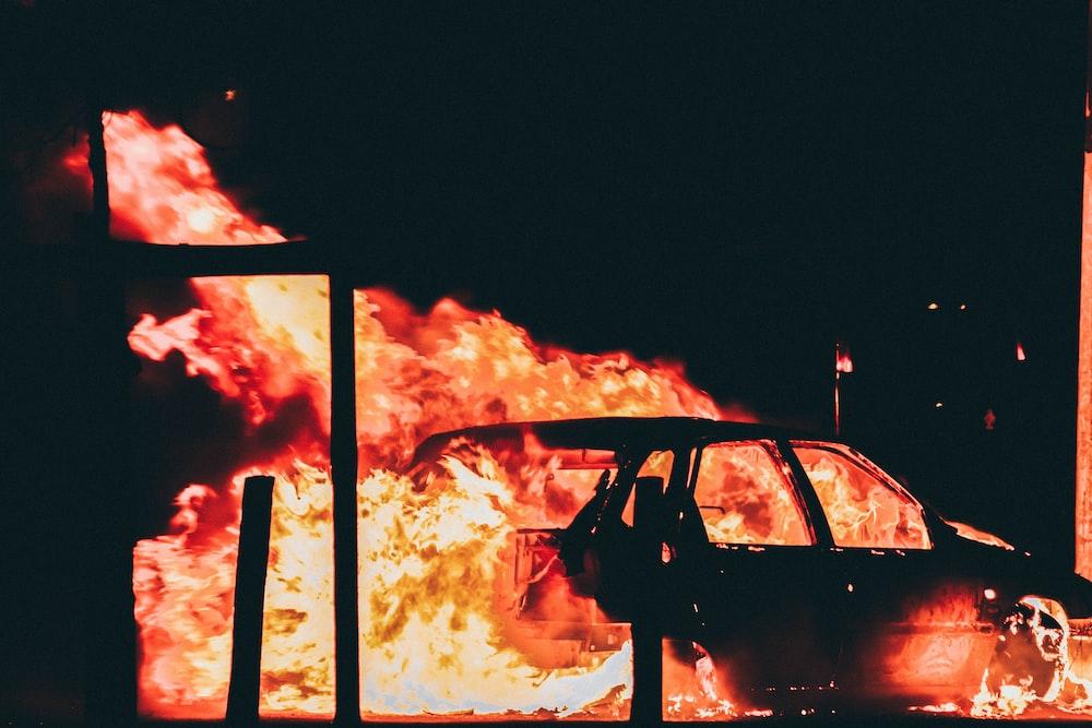 burning vehicle at night time