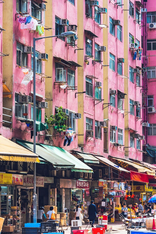 people walking around city