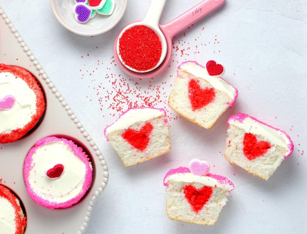 sliced cupcake on table