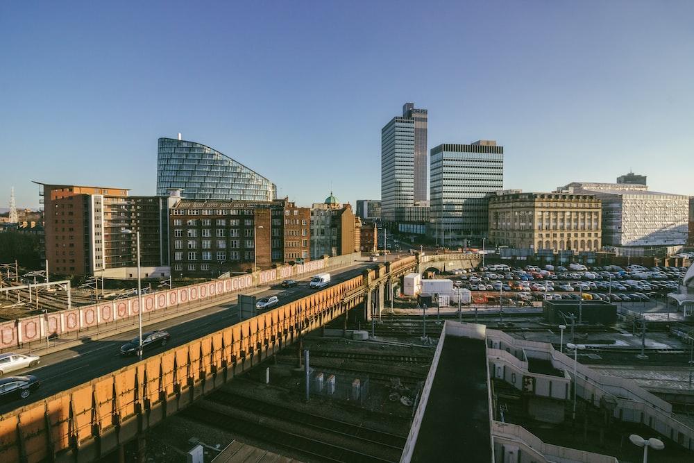 high rise buildings and bridge