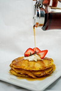 waffles on white plate