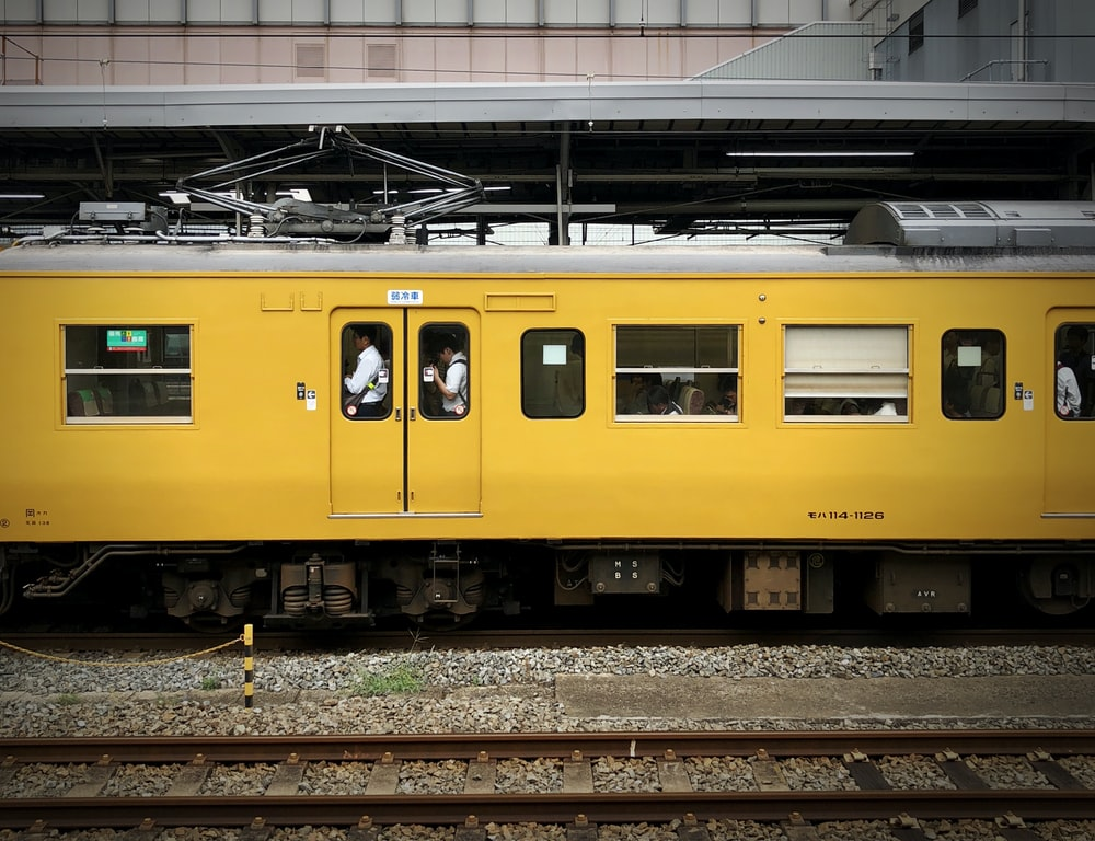 yellow and gray train