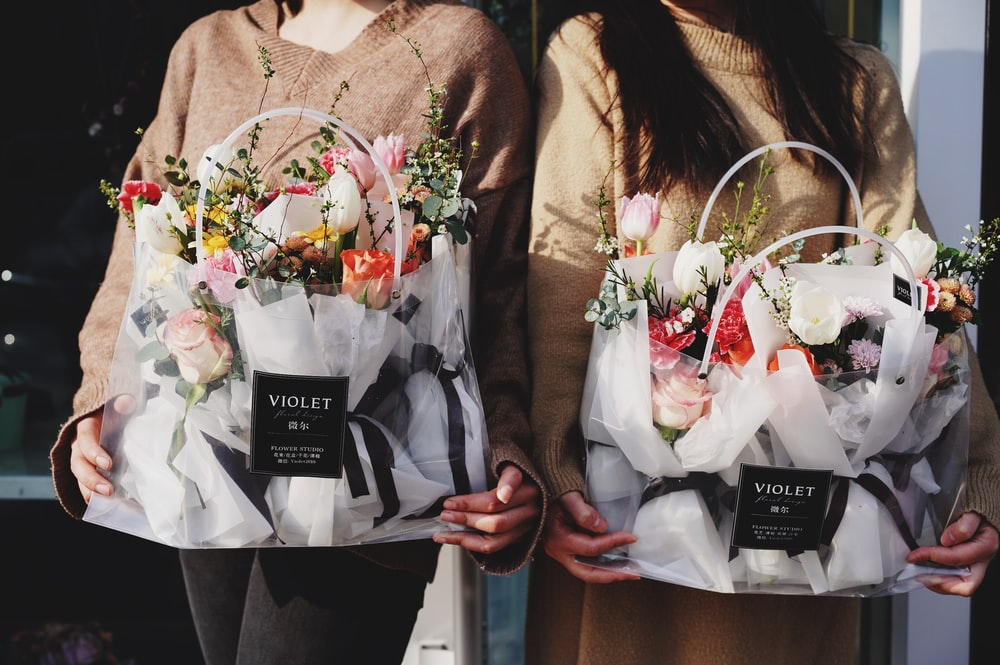 two Violet flower bouquets
