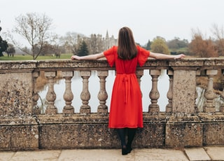 woman in red dress looking at body of water and trees during daytime