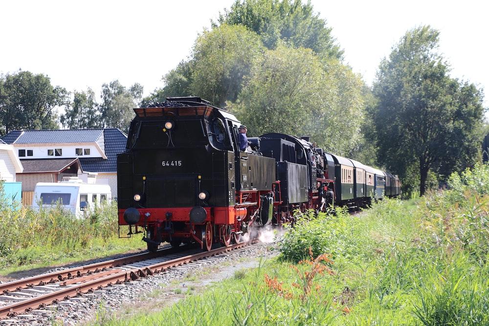black train near trees during daytime
