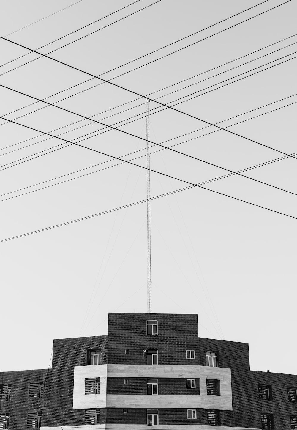 greyscale photo of buildin