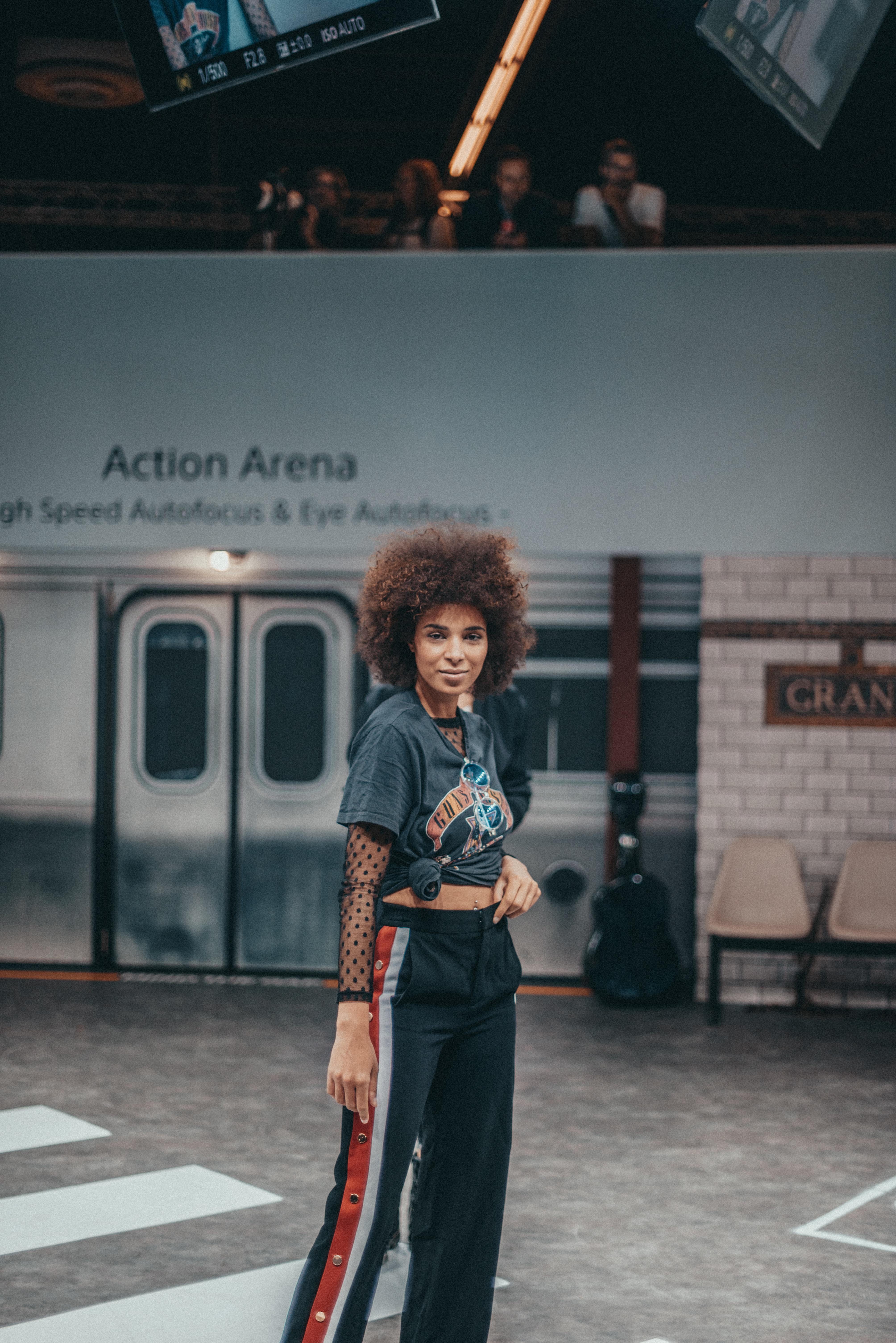 woman inside train station