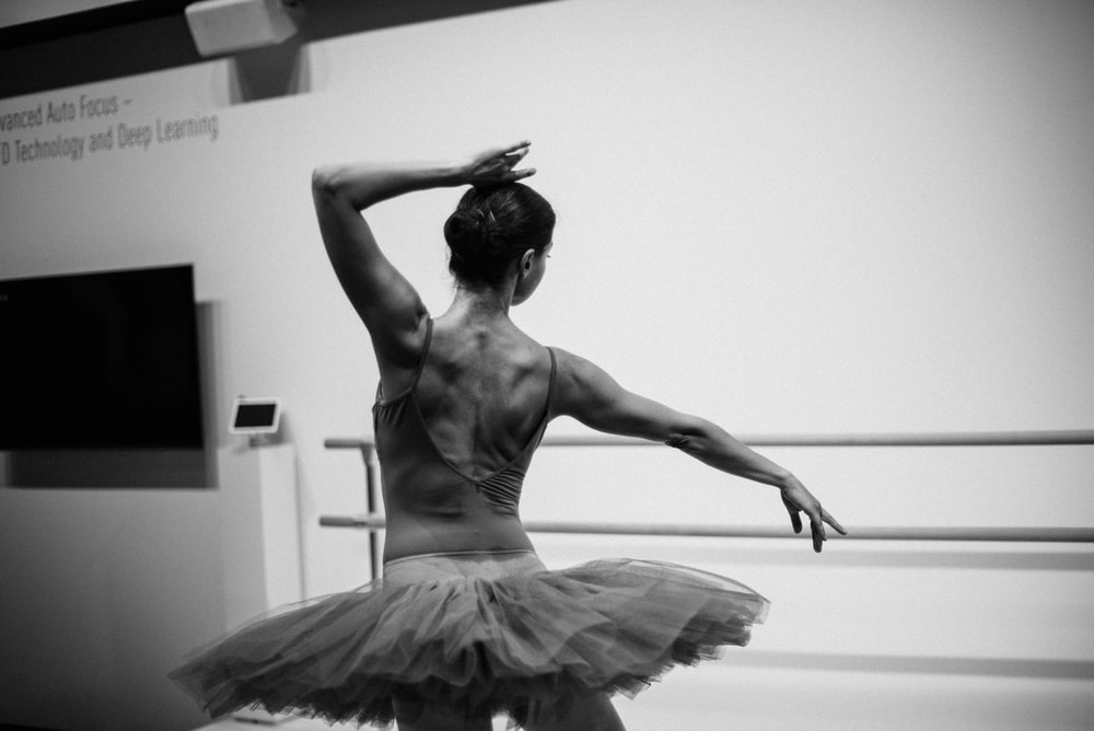 grayscale photo of ballerina