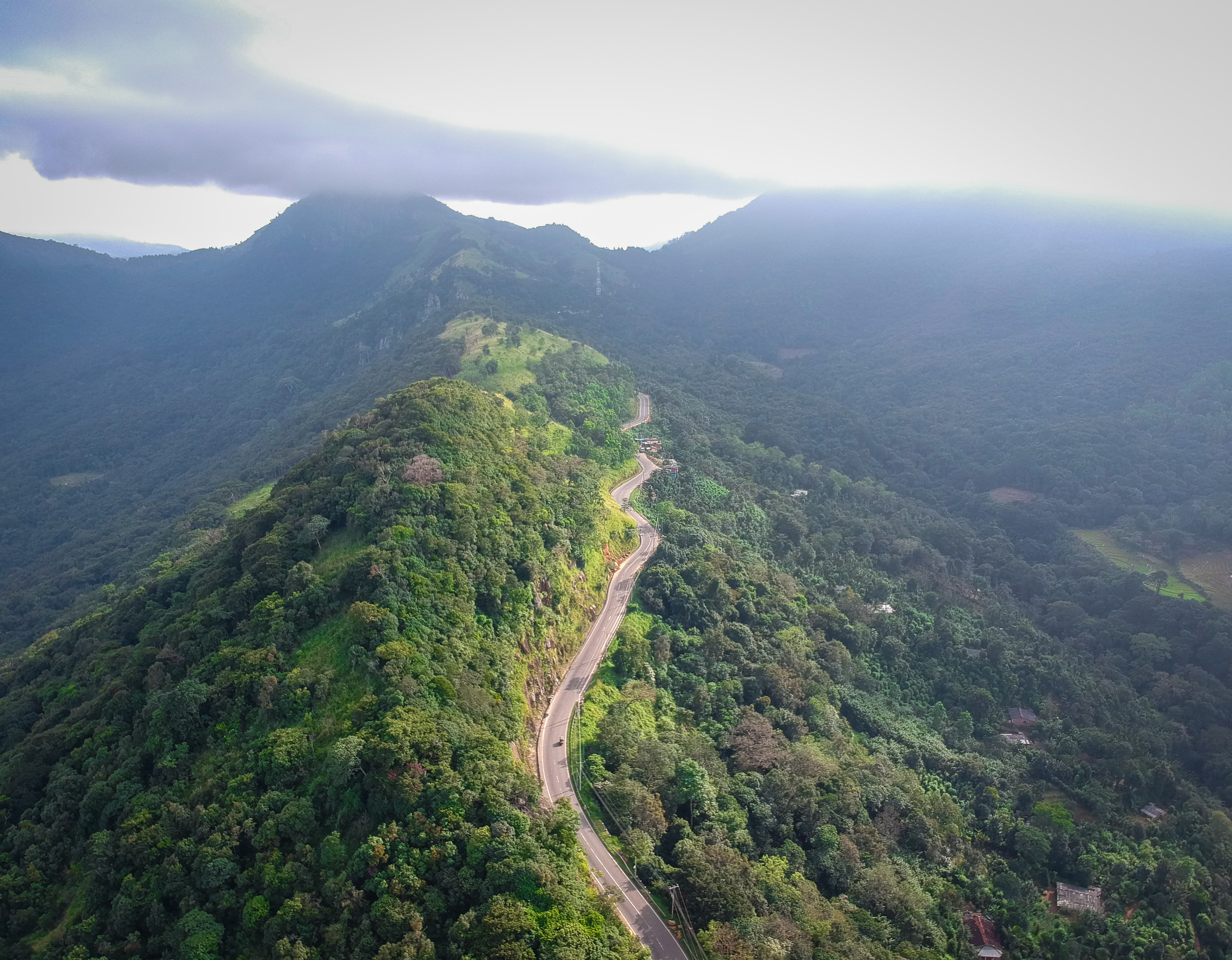 aerial mountain road scenery