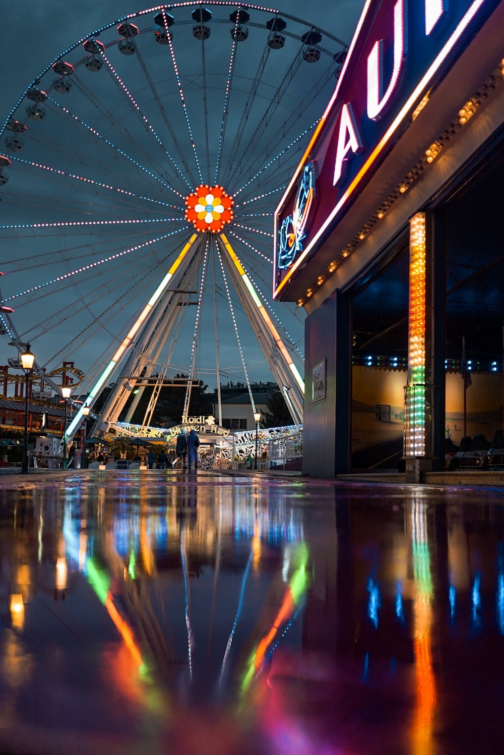 low angle photography of ferris wheel